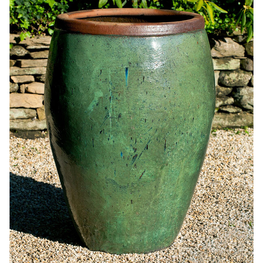 Large Glazed Terra Cotta Jar Planter – Rustic Green