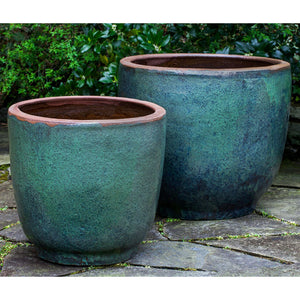 Rustic Green Glazed Terra Cotta Jar Planters – Set of 2
