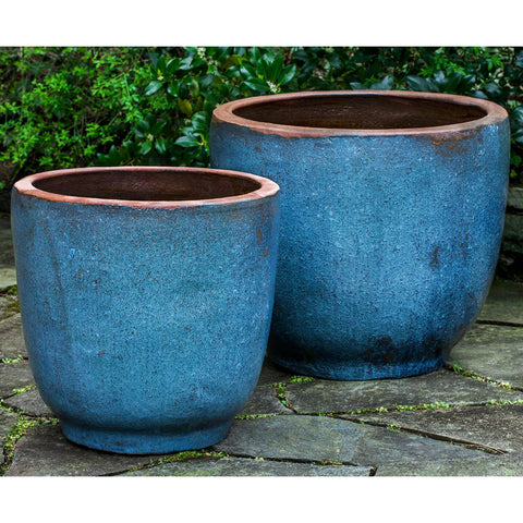 Rustic Blue Glazed Terra Cotta Jar Planters – Set of 2