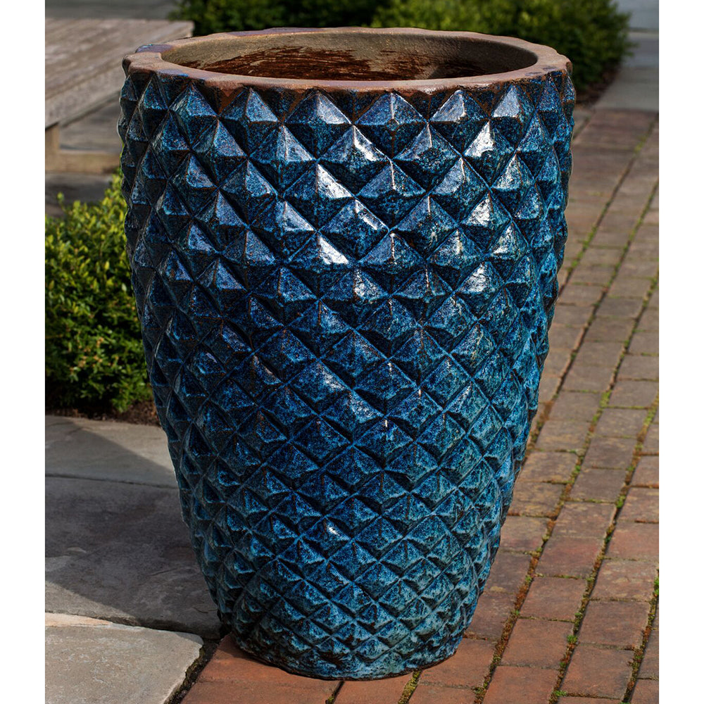 Tall Pineapple Facets Glazed Terra Cotta Planter – Rustic Blue