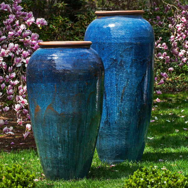Tall Glazed Terra Cotta Jar Planter with Rolled Edge – Rustic Blue