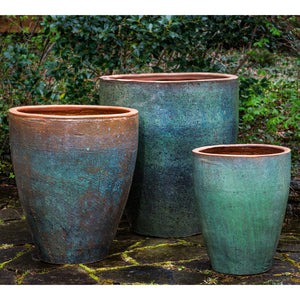 Rustic Green Glazed Terra Cotta Tapered Planters – Set of 3