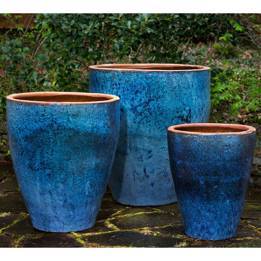 Rustic Blue Glazed Terra Cotta Tapered Planters – Set of 3