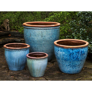 Large Rustic Blue Planters with Rope Detail – Set of 4