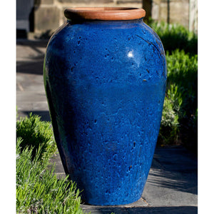 Glazed Terra Cotta Jar Planter with Rolled Edge – Rustic Blue
