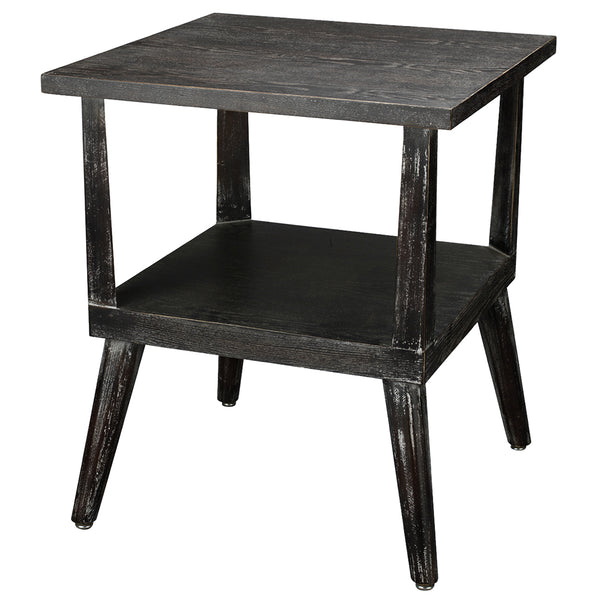 Washed Wood Side Table with Shelf – Dark Grey