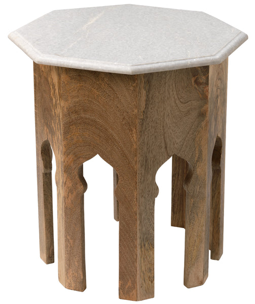 Atlas Side Table in White Marble