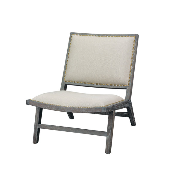 Baldwin Chair in Off White Linen & Dark Wood