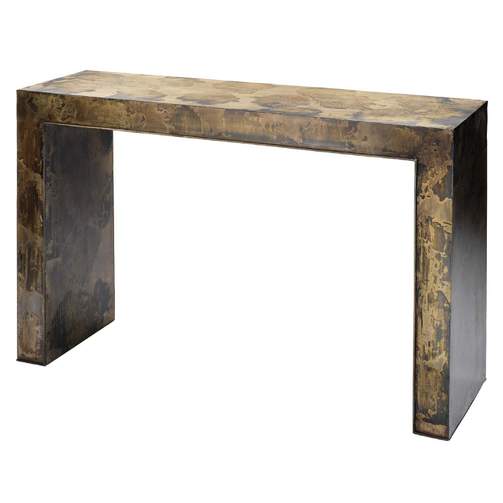 Charlemagne Console Table in Acid Washed Metal