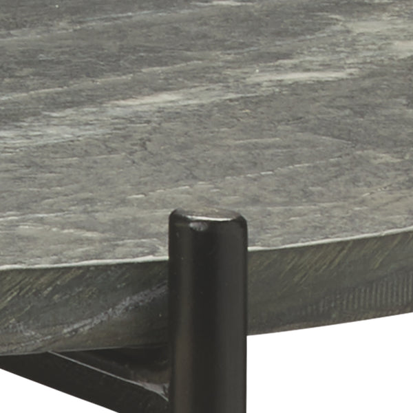Domain Side Table in Black Textured Marble  & Black Iron