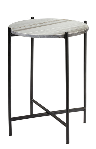 Domain Side Table in Grey Marble & Black Iron