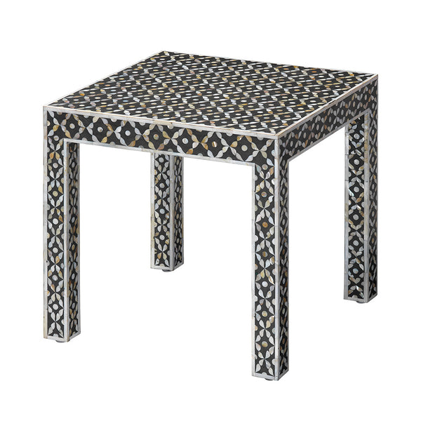 Inlaid Mother of Pearl Square Side Table