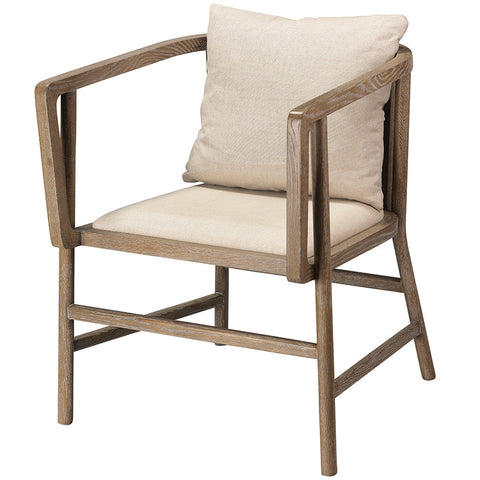 Modern Grey Washed Wood Arm Chair with Linen Upholstery