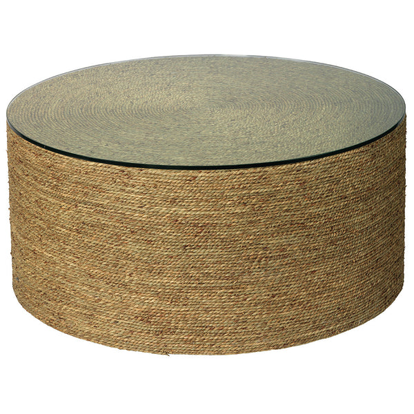 Twisted Sea Grass Round Cocktail Table with Glass Top