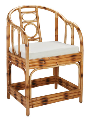 Malacca Round Back Arm Chair in Burnt Tortoiseshell Rattan with Off White Cushion