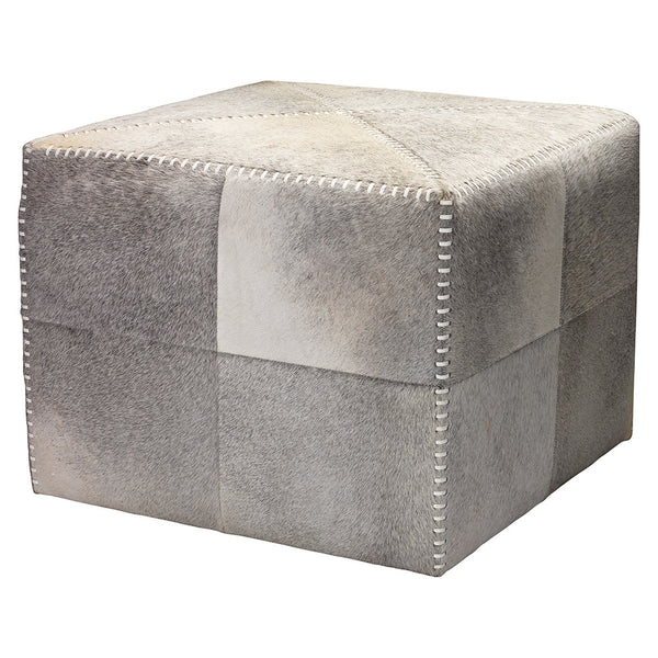 Large Rustic Ottoman – Grey Hide