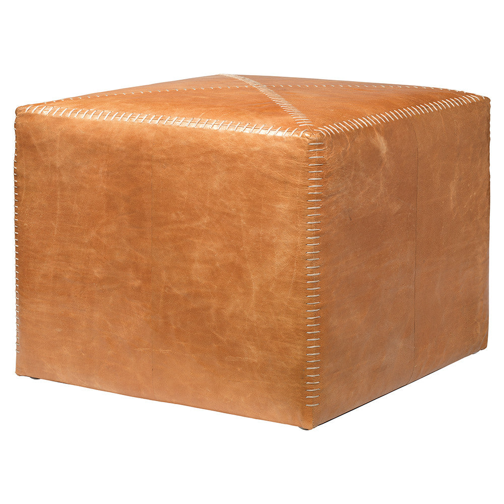 Large Rustic Ottoman – Buff Leather
