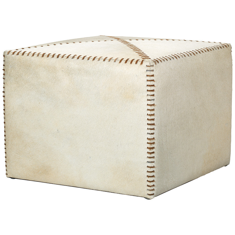 Large Rustic Ottoman - White Hide