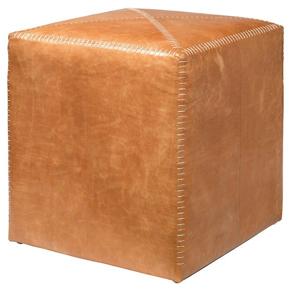 Small Rustic Ottoman – Buff Leather