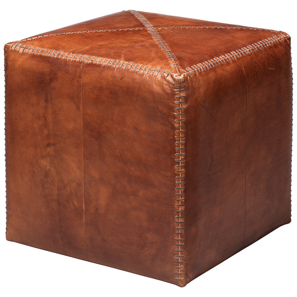 Small Rustic Ottoman – Brown Leather