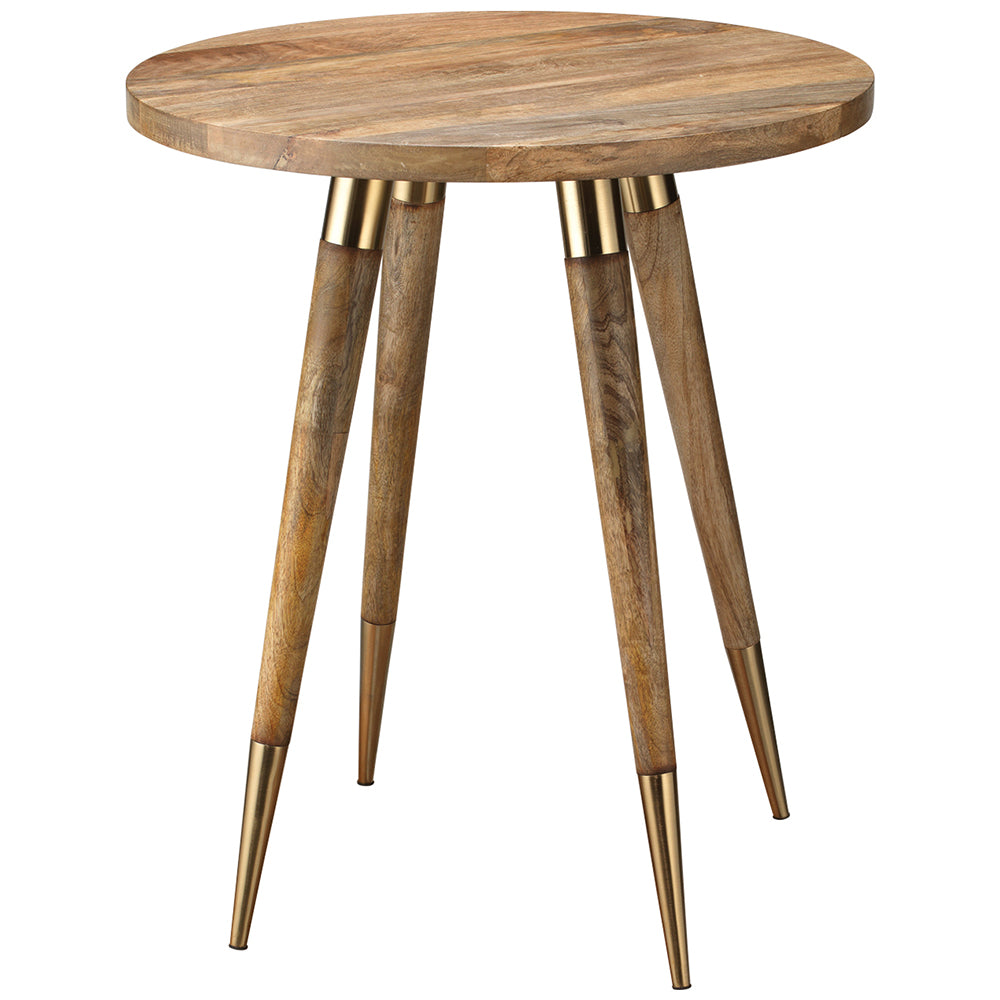 Mid Century Large Wood And Antique Brass Side Table