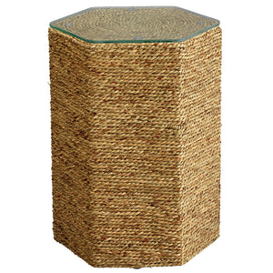 Twisted Sea Grass Hexagonal Side Table with Glass Top