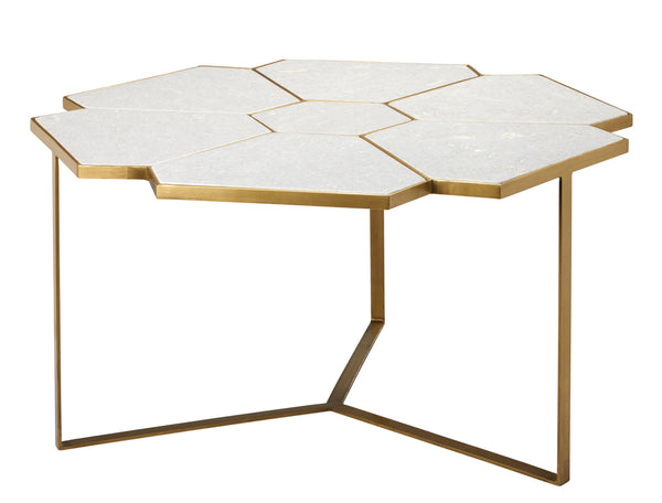 Perennial Coffee Table in White Marble & Brass Metal