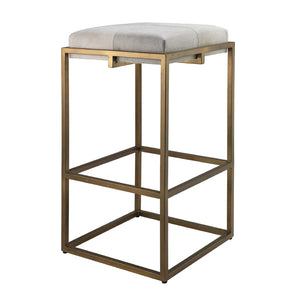 Shelby Metal & Hide Bar Stool – White Hide & Antique Brass