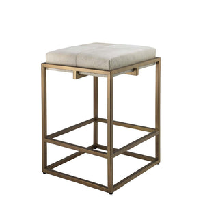 Shelby Metal & Hide Counter Stool – White Hide & Antique Brass