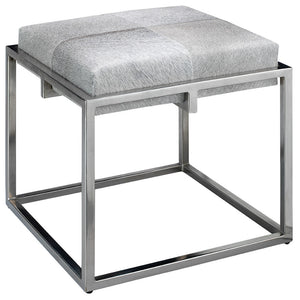 Modern Metal & Hide Stool - Grey