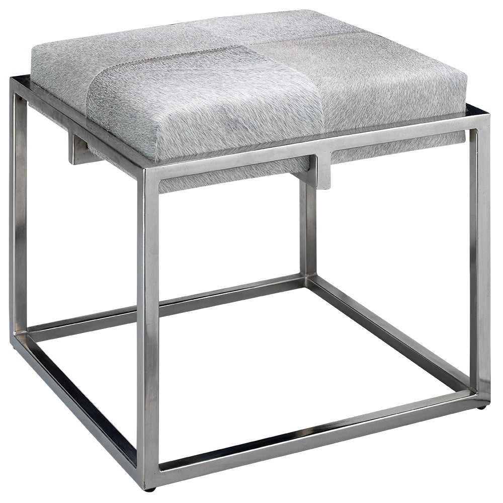 Modern Metal & Hide Stool – Grey