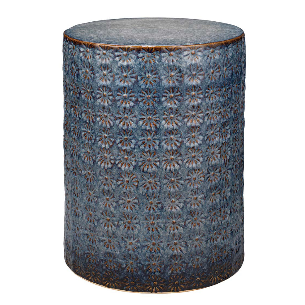 Wildflower Patterned Ceramic Accent Table – Dark Blue & Grey