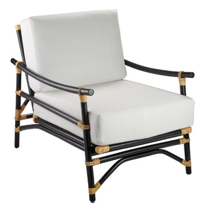 Xanadu Lounge Chair in Black & Cream Rattan with Off White Cushions