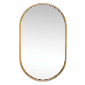 Regina Andrew Large Oval Wall Mirror – Natural Brass