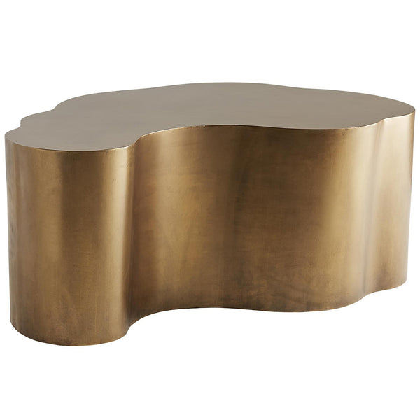 Arteriors Meadow Curved Iron Block Cocktail Table – Antique Brass