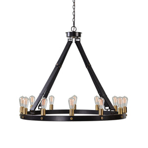 12-Light Leather Strap Chandelier – Black