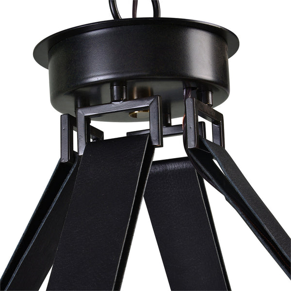 6-Light Leather Strap Chandelier – Black