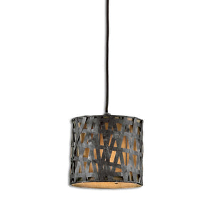 Metal Straps Mini Pendant Light - Black