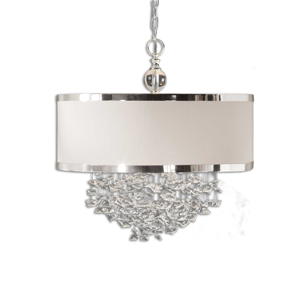 Silver Crystal Drum Chandelier