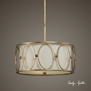 Gold Rings Drum Pendant Light