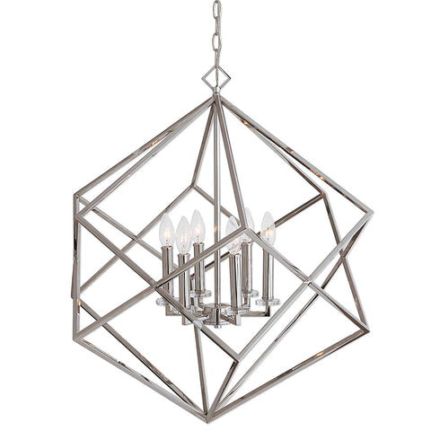 Interlocking Cubes Six Light Pendant in Polished Nickel