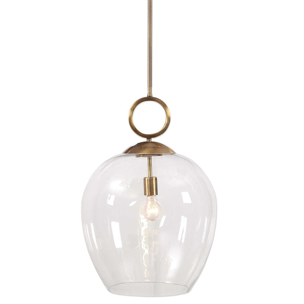Extra Large Globe Pendant Light with Aged Brass Accents