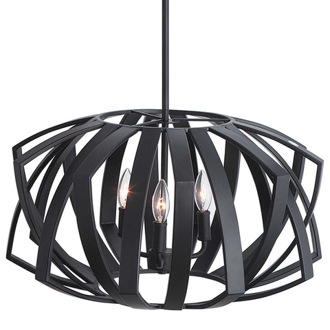Geometric 3-Light Cage Pendant in Matte Black
