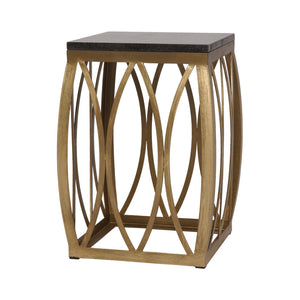 Vault Metal Stool with Black Granite Top - Gold Powdercoat
