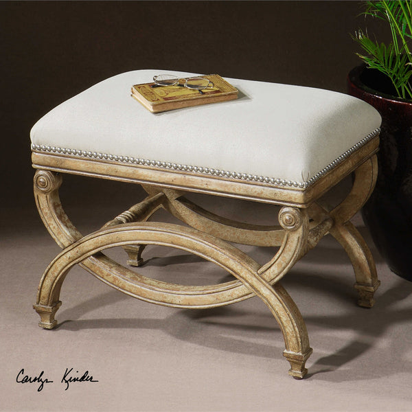 Scroll Wood & Linen Bench - Small