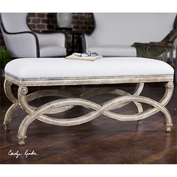 Scroll Wood & Linen Bench - Large
