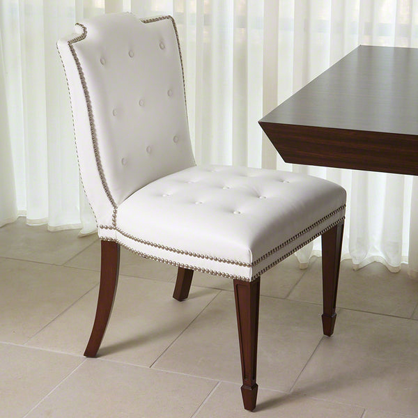 Royal Armless Chair – White Leather