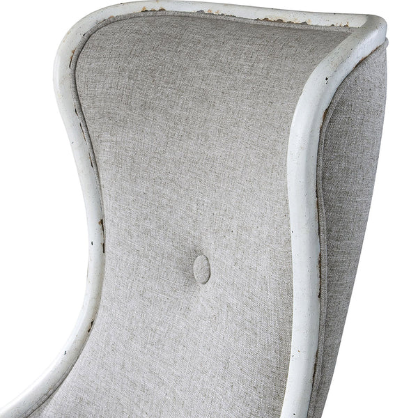 High Back Wing Chair - Distressed White