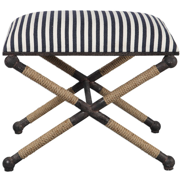 Nautical X-Frame Bench with Natural Fiber Rope Accents