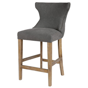 Tufted Back Counter Stool with Nailhead Trim— Gray Linen